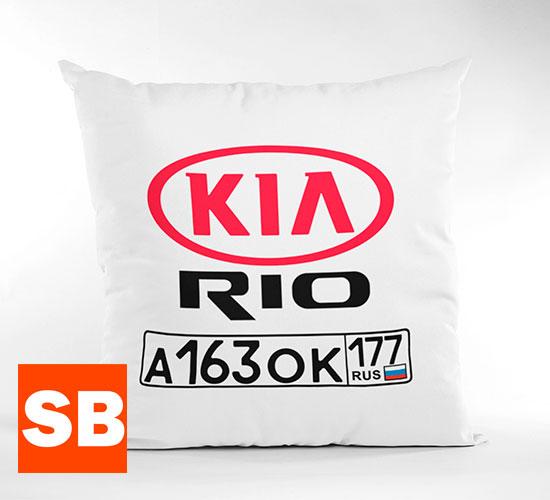 Подушка с гос номером и логотипом авто