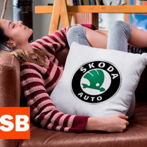 подушка с логотипом шкода